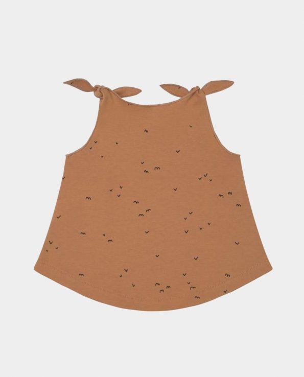 Camiseta de tirantes para niño de algodón orgánico 100% Clic Mini Delta Toffee