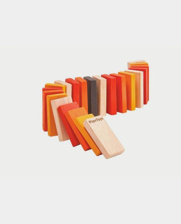 Carrera Dominó Kit Plantoys para niños de madera montessori