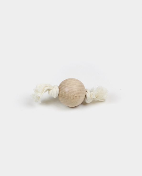 Esfera de madera y cuerda de algodón juguete montessori de la panera de los tesoros