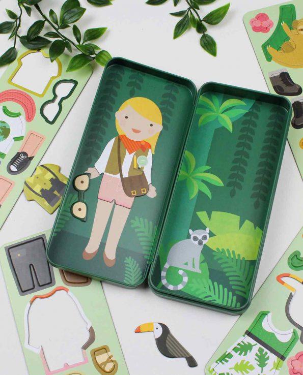 Chica exploradora estuche magnético juguete para niños