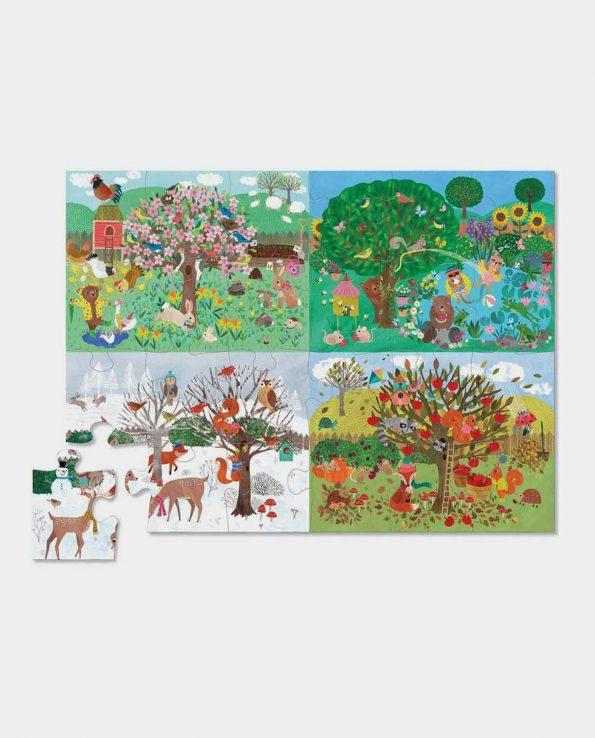 Four Season floor puzzle Cuatro estaciones para encontrar figuras puzzle de niños