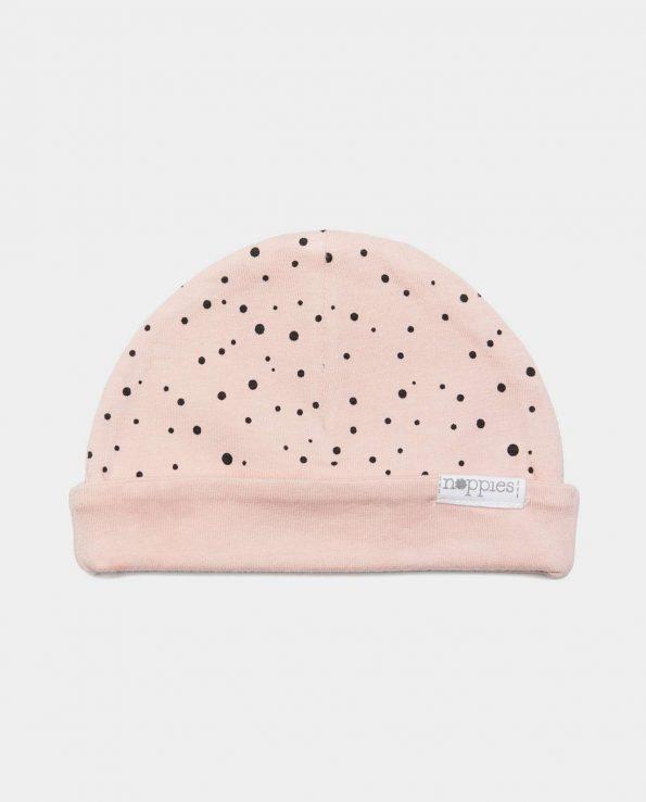 Gorro recién nacido reversible de algodón orgánico rosa de Noppies