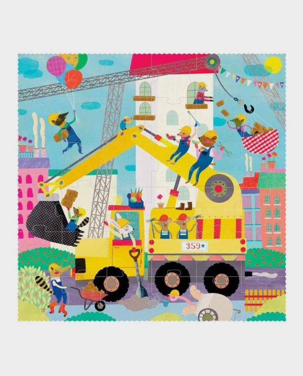 Puzzle para niños de constructores, camiones obreros y animales I want to be builder quiero ser constructor de Londji