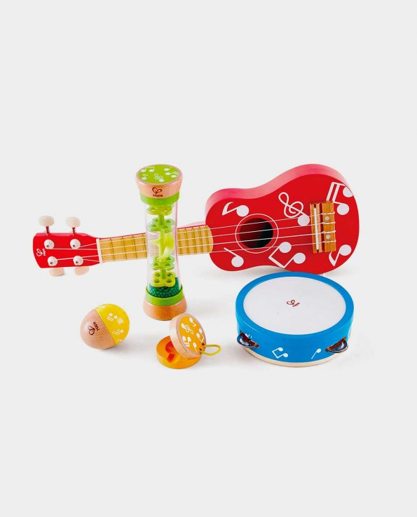 Mini Banda Musical Hape para niños guitarra pandereta maracas y palo de lluvia