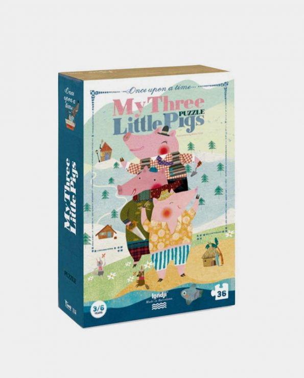 Puzzle para niños troquelado en relieve de los tres cerditos de Londji my three little pigs blue