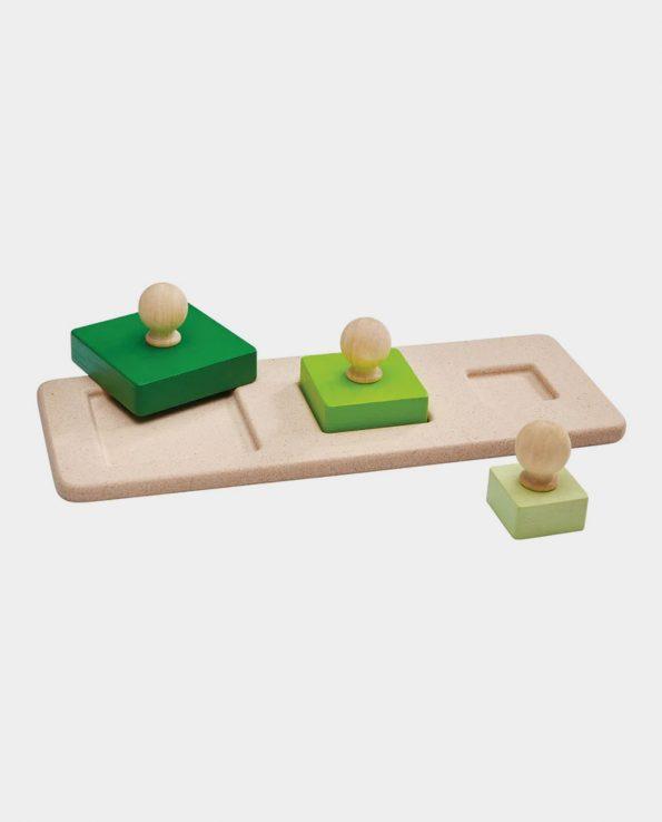 Puzzle encajable de madera cuadrados de Plantoys