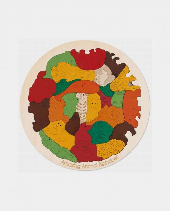 Puzzle de madera para niños encajable y apilable de animales de Hape