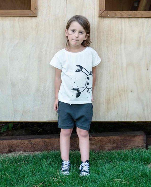 Short para niños de algodón orgánico 100% Graphite Clic Mini