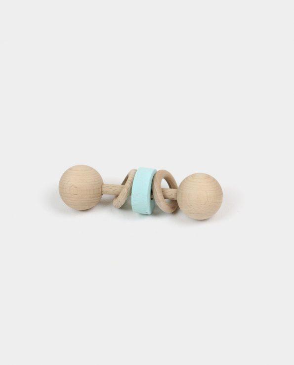 Sonajero de anillas Chalk Paint de madera para bebés montessori