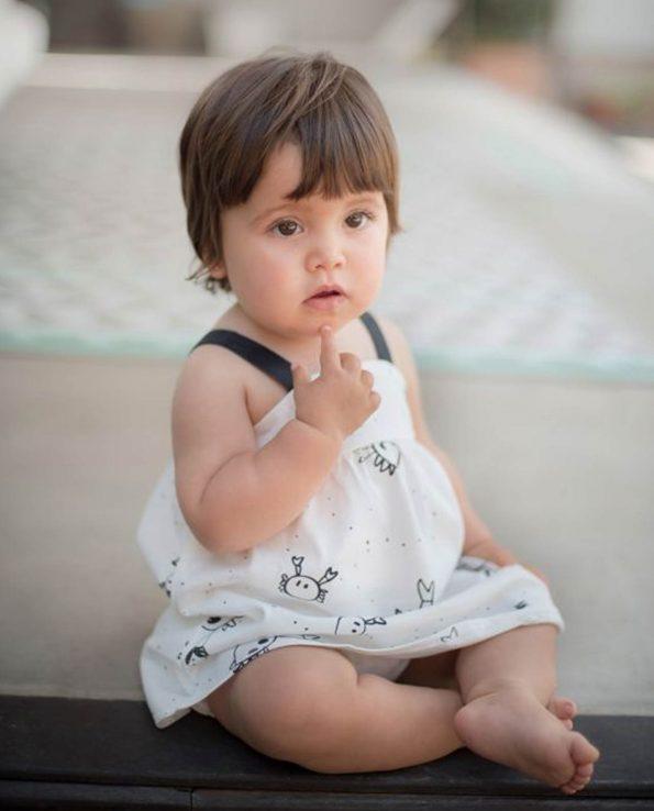 Vestido y Culotte de algodón orgánico para niña modelo Crabs de Clic Mini