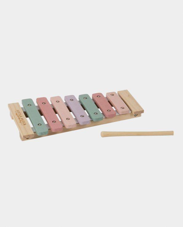 Xilófono de madera natural color pastel rosa para niño de Little Dutch
