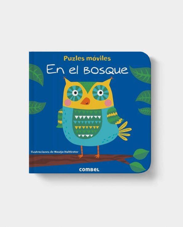 Libro infantil con solapas puzzle y moviles En el bosque con animales de Combel