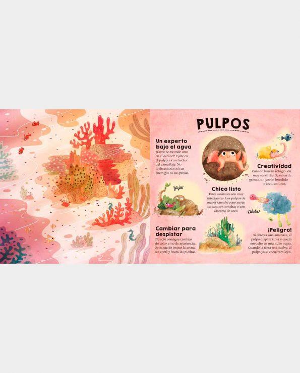 Libro infantil ilustrado en 3D con solapas ¿Quién se Esconde en el Desierto y en el Mar?