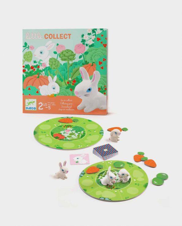 Juego de mesa para niños de recolección y asociación con conejos y zanahorias Little Collect de Djeco