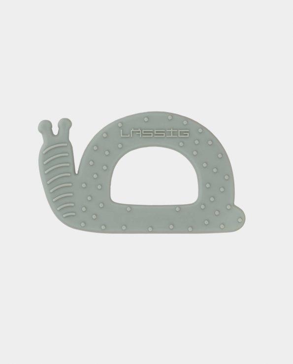 Mordedor de silicona alimentaria para bebés de Lassig con forma de caracol verde