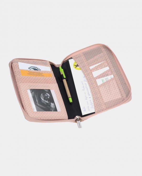 Portadocumentos para bebé Lassig Puntitos rosa