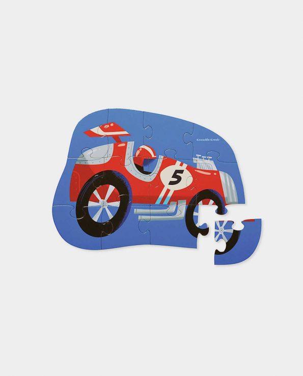 Puzzle para niños con forma de coche de carreras At the races de Crocodile Creek