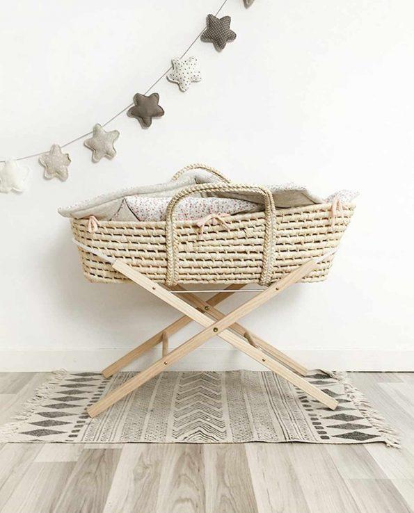 Soporte para capazo de madera que soporta moisés natural estilo nórdico de Baby Shower