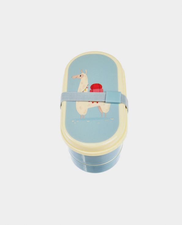 Tupper doble compartimento + cubiertos llama azul de Tutete