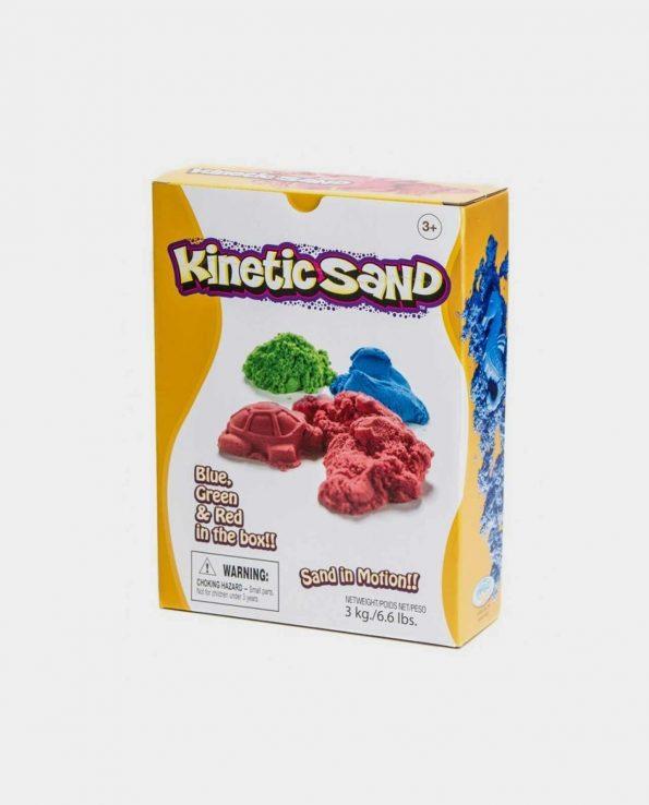 Arena Kinética y arena mágica para niños de ctres colores Azul, Verde y Roja 3Kg
