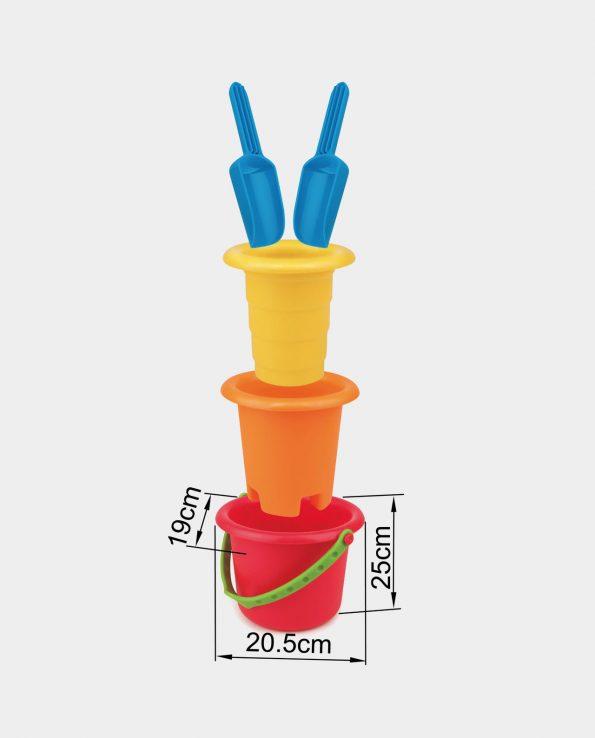 Set de juguetes de playa cubo de playa castillo y palas montessori de Hape
