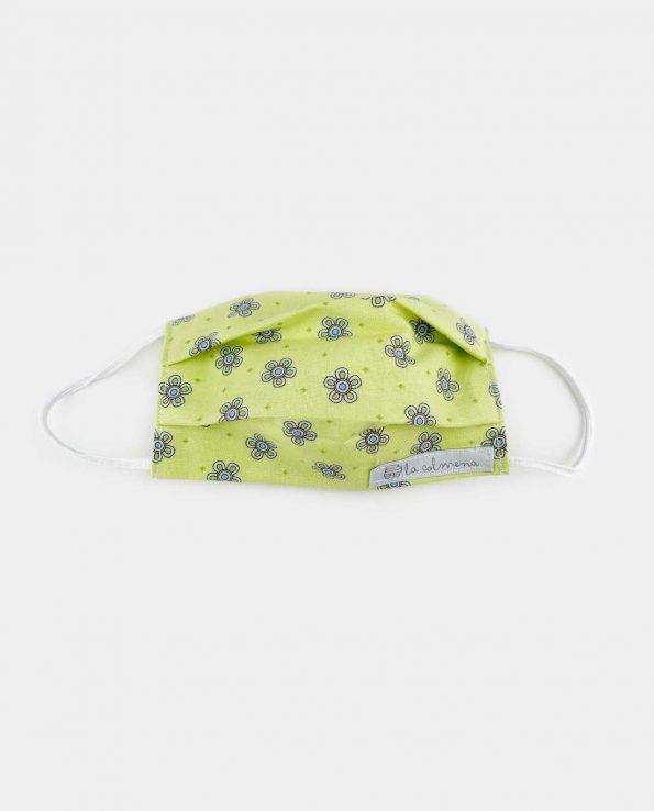 Marcarilla infantil para niños de algodón para el coronavirus o covid19 contra virus estampada flores verdes