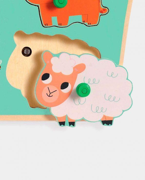Puzzle encajable de madera para niño con sonido y animales de granja de Djeco