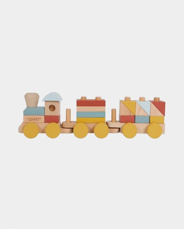 Tren de Madera para bebés encajable con piezas de colores Adventure Pure & Nature