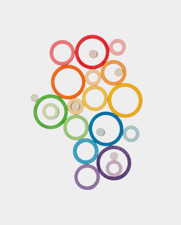 Aros nido de madera color arco iris de grapat