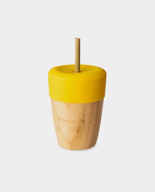 Vaso Bambú Amarillo 240ml + Tapa + 2 Pajitas