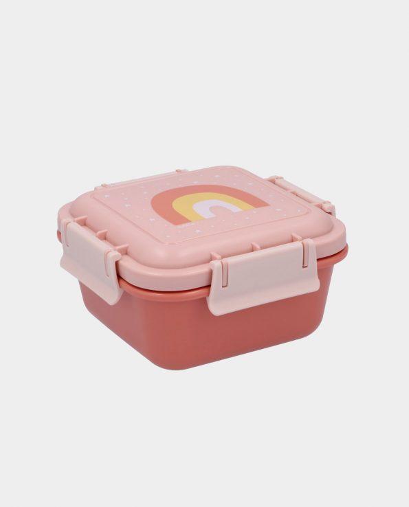 Caja Almuerzo Arcoiris Rosa mostaza para niños con compartimentos