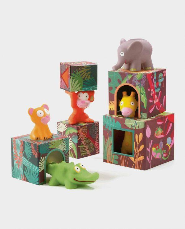 Maxi Topanijungle Djeco juego encajable y construcción para niños con animales de la jungla