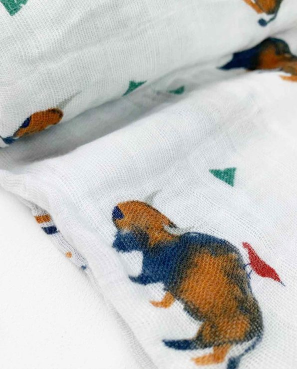 Muselina de algodón para bebes de Little Unicorn Bisonte