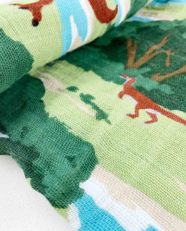 Muselina de algodón para bebes de Little Unicorn Dinos y arboles