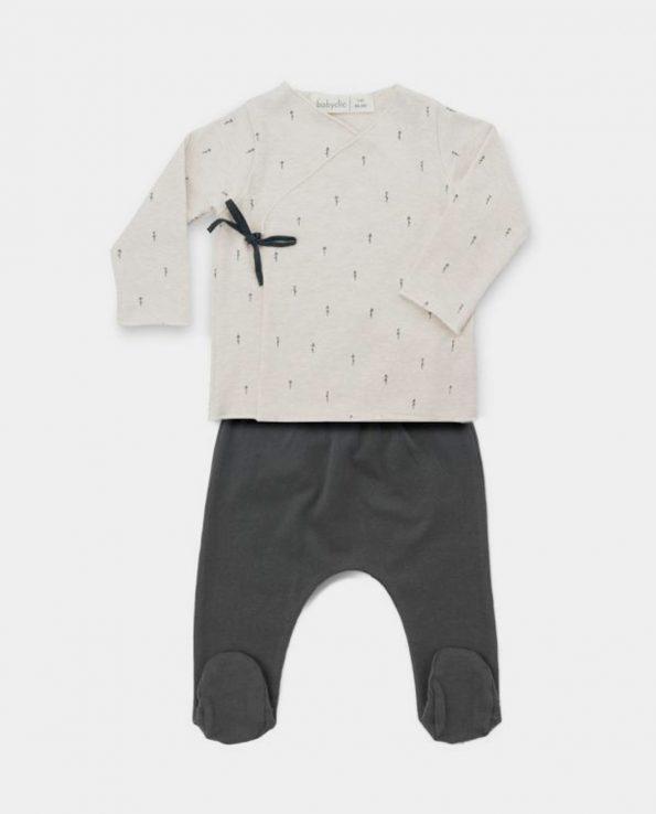 Jubón + Polaina para bebés y niños de algodón orgánico WOODS BEIGE Baby Clic