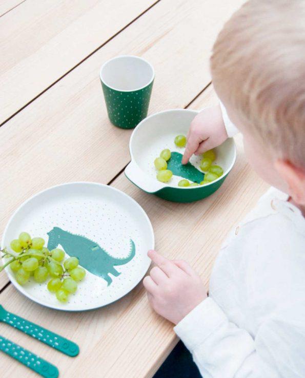 Plato para niños natural biodegradable fabricado con Bambú para BLW de Trixie Mr Crocodile