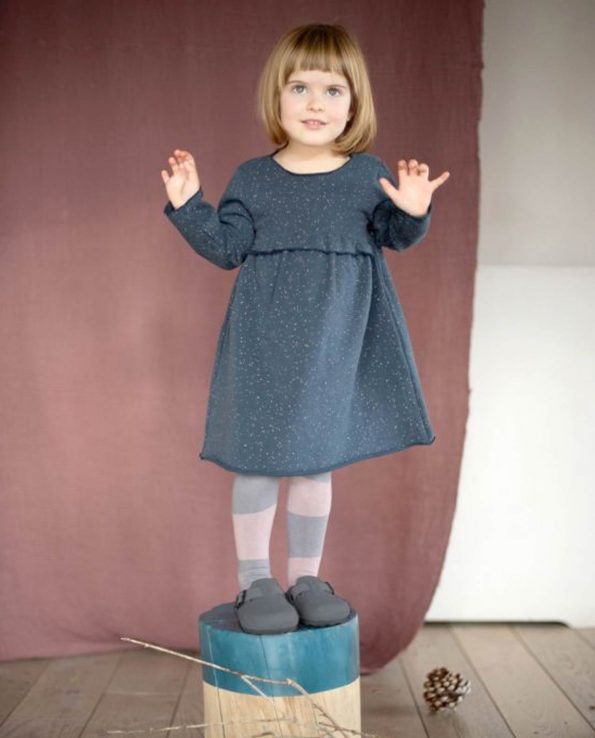 Vestido para niña de algodón orgánico 100% Sand Nocturnal Blue Baby Clic
