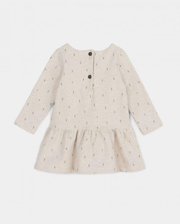 Vestido para niña de algodón orgánico Wood Beige Baby Clic