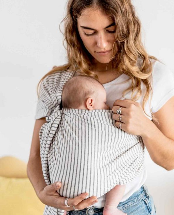 Bandolera Stripes Baby On Earth porteo ergonómico elche alicante valencia