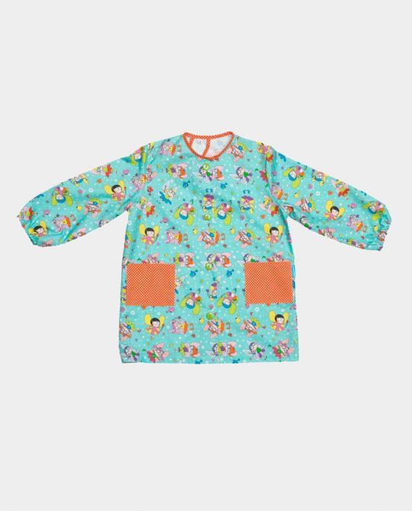 Bata escolar de algodón 100% con botones y bolsillos