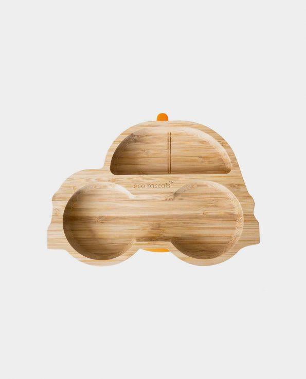 Plato de bambú natural ecológico con ventosa para bebés BLW con forma de coche color naranja