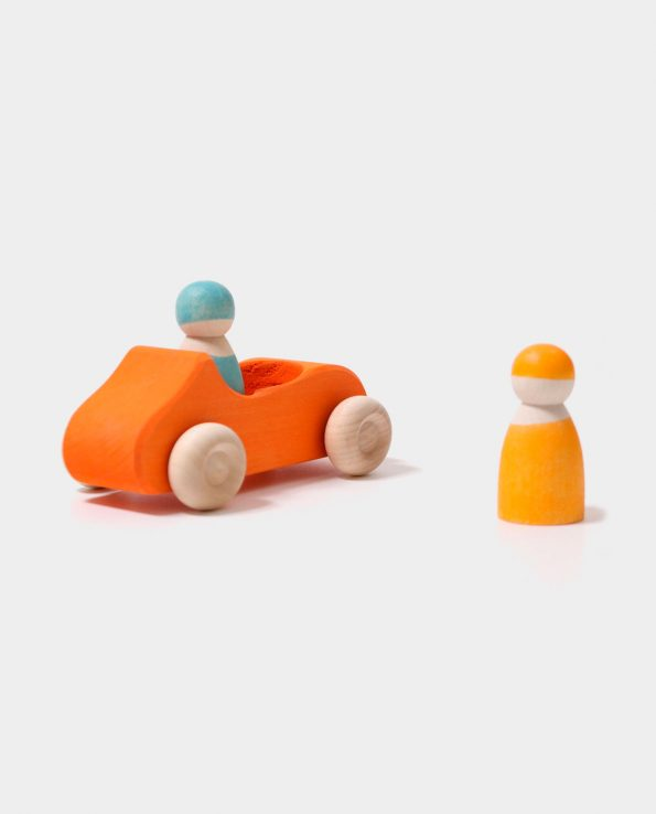 Coche Cabrio Naranja Grimms de madera para niños