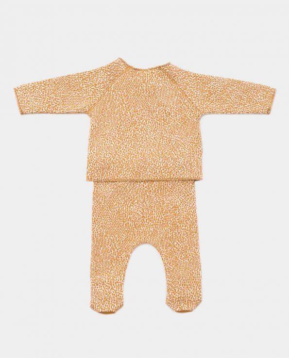 Conjunto Jaquard Raw Play Up para niño unisex de algodón orgánico amarillo