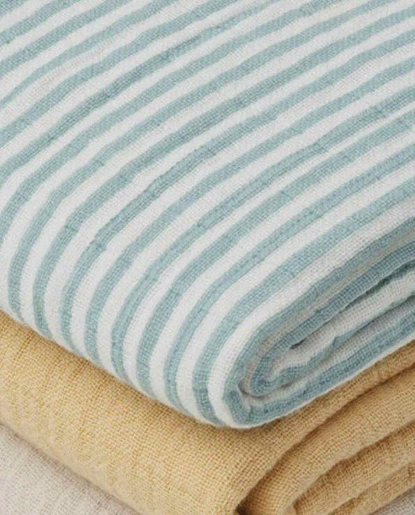 Pack 3 Muselinas Sea Blue Stripe Mix Liewood de algoón orgánico suave