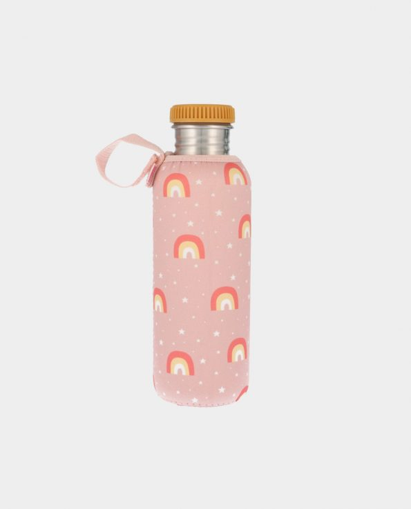 Botella Acero con Funda Arcoiris Rosa 750 ml