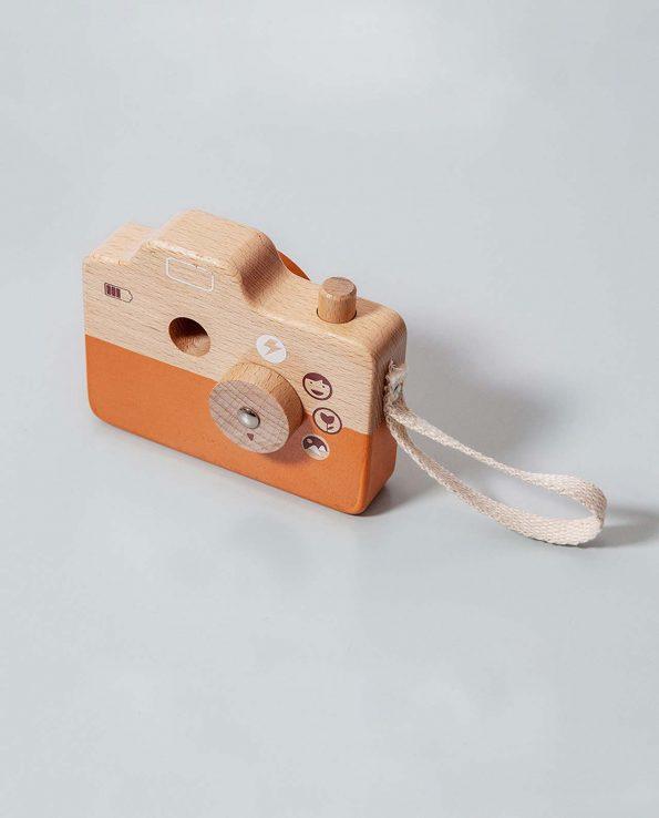 Cámara de Fotos de madera de juguete para niños Naranja Petit Monkey